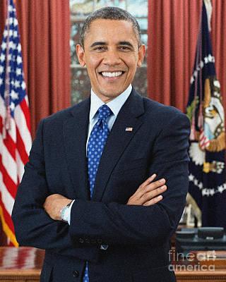 Obama Painting - Barack Obama by Celestial Images
