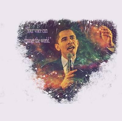 Barack Obama Quote Digital Cosmic Artwork Print by Georgeta Blanaru