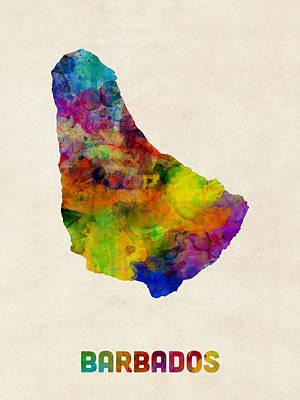 Latin America Digital Art - Barbados Watercolor Map by Michael Tompsett