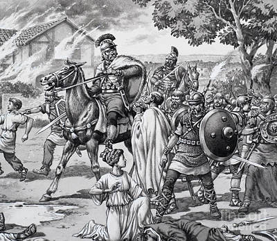 Barbarian Attack On The Romano British Print by Pat Nicolle