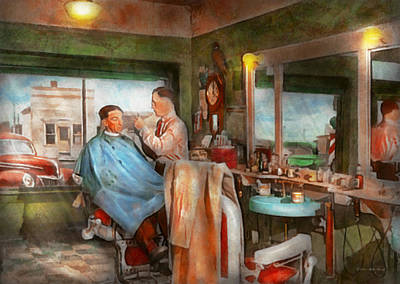 Custom Mirror Photograph - Barber - Getting A Trim 1942 by Mike Savad
