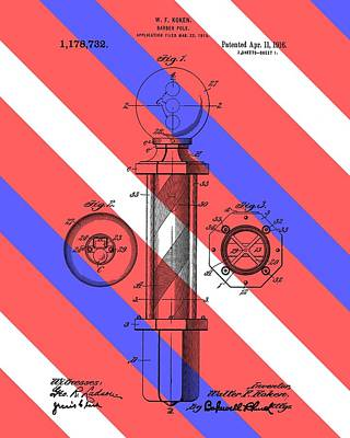 S Pole Drawing - Barber Pole Patent by Dan Sproul
