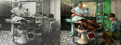 Barber - Shave - Pennepacker's Barber Shop 1942 - Side By Side Print by Mike Savad