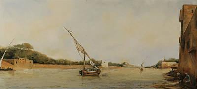 Barca Sul Fiume Original by Guido Borelli