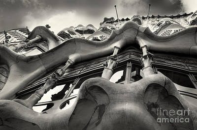 Barcelona Casa Batllo Black White Print by Design Remix