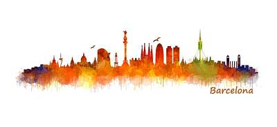 Architecture Painting - Barcelona City Skyline Hq V2 by HQ Photo