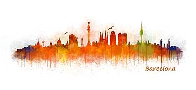 Architecture Painting - Barcelona City Skyline Hq _v3 by HQ Photo