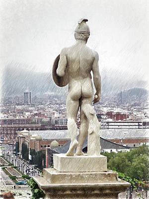 Barcelona Drawing - Barcelona-montjuic Big Sculpture  by Joaquin Abella