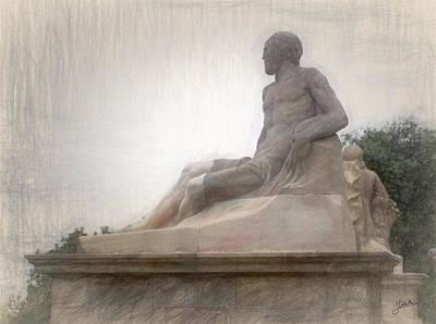 Barcelona Drawing - Barcelona-montjuic Sculpture by Joaquin Abella