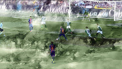 Messi Drawing - Barcelona Painting 0000056 by Jani Heinonen