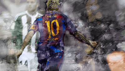 Messi Drawing - Barcelona Painting 100876 by Jani Heinonen