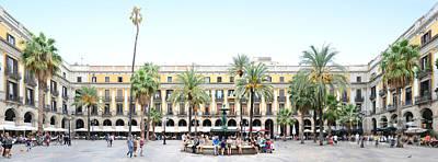 Barcelona Panorama Placa Reial Print by Joerg Dietrich