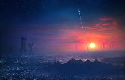 Barcelona Painting - Barcelona Smoke And Neons Montserrat by Guillem H Pongiluppi