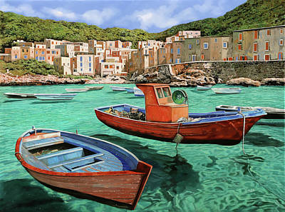Fisherman Painting - Barche Rosse E Blu by Guido Borelli