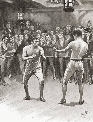 Bare-knuckle Boxing In The 19th Print by Vintage Design Pics