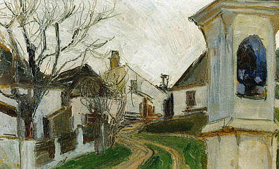 Shrine Painting - Bare Trees, Houses And Wayside Shrine by Egon Schiele