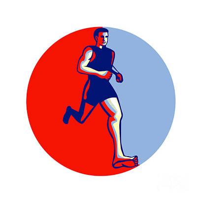 Barefoot Runner Running Front Circle Print by Aloysius Patrimonio