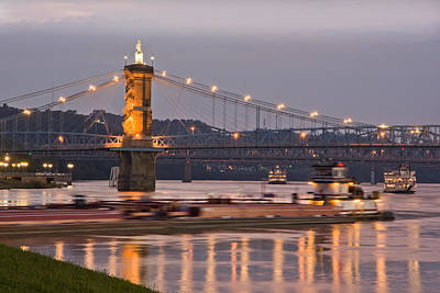 Barge  Navigating Ohio Licking River Print by Randall Branham