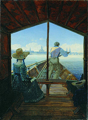 Carl Gustav Carus Painting - Barge Trip On The Elbe Near Dresden. Morning On The Elbe by Carl Gustav Carus