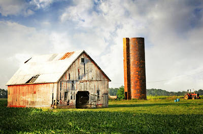 Barn And Brick Silo Print by Marty Koch