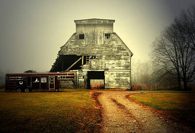 Indiana Winters Photograph - Barn And Horse Trailer by Mark Orr