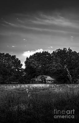 Barn And Palmetto-bw Print by Marvin Spates