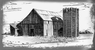 Barn And Silo Distressed Version Print by Joyce Geleynse