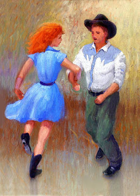 Pretty Cowgirl Painting - Barn Dance Couple by John DeLorimier