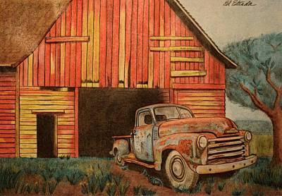 Classic Truck Drawing - Barn Find by Ed Estrada