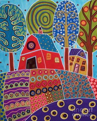 Modern Folk Art Painting - Barn Garden Landscape by Karla Gerard