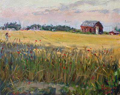 Red Barns Painting - Barn In A Field Of Grain by Ylli Haruni