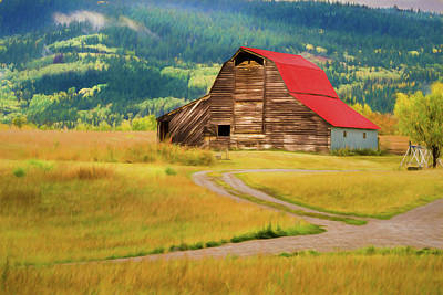 With Red. Photograph - Barn In Victor Idaho by TL Mair