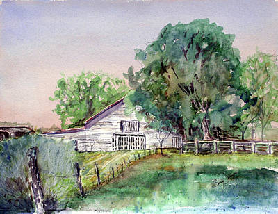 Watercolor Painting - Barn On Highway 4 by Barry Jones