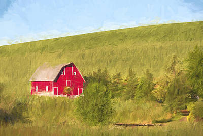 Red Barns Digital Art - Barn On The Hill II by Jon Glaser