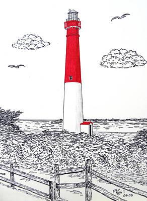 Barnegat Light Drawing Original by Frederic Kohli