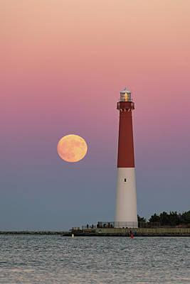 Lighthouses Photograph - Barnegat Lighthouse Full Moon by Robert Barnes