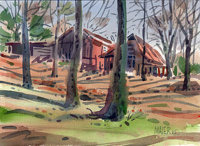 Barns And Sheds Print by Donald Maier