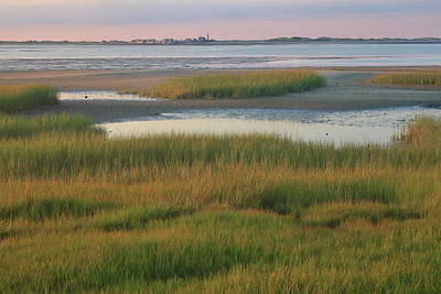Barnstable Harbor Marsh Grasses And Sandy Neck Lighthouse Print by John Burk