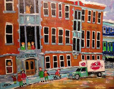 Mordecai Richler Painting - Baron Byng High School 1960's by Michael Litvack