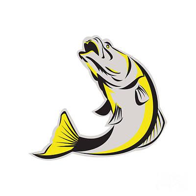 Barramundi Fish Jumping Up Isolated Retro Print by Aloysius Patrimonio
