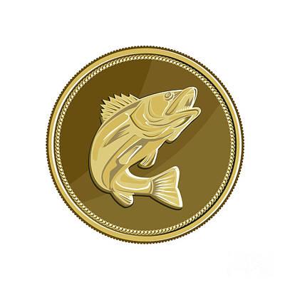 Barramundi Gold Coin Retro Print by Aloysius Patrimonio
