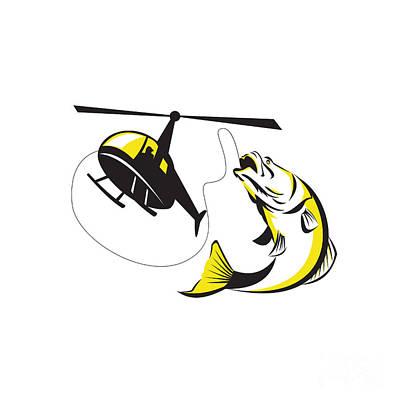 Barramundi Heli Fishing Retro Print by Aloysius Patrimonio