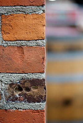 Rusted Barrels Photograph - Barrel Behind Bricks by Lisa Knechtel