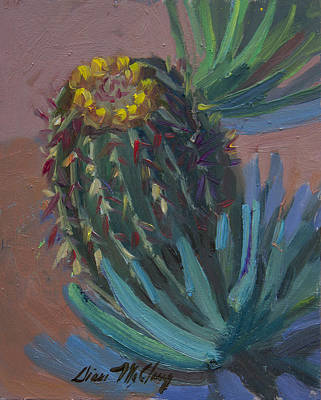 Sonoran Desert Painting - Barrel Cactus In Bloom - Boyce Thompson Arboretum by Diane McClary