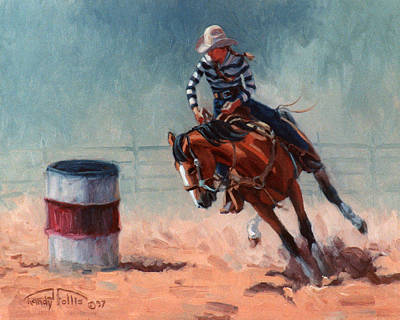 Barrel Painting - Barrel Racer by Randy Follis