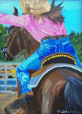 Wild Racers Painting - Barrel Rider by Michael Lee