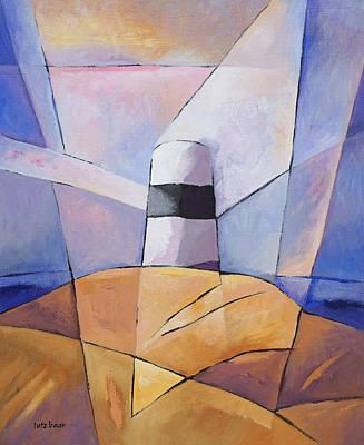 Handpainted Painting - Barren Coast Beacon by Lutz Baar