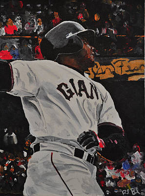 Record Breaker Painting - Barry Bonds Record Home Run  by Ruben Barbosa