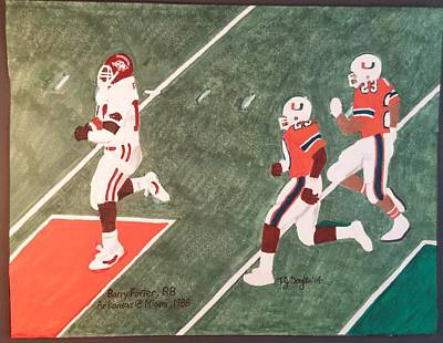 University Of Arkansas Drawing - Arkansas V Miami, 1988 by TJ Doyle