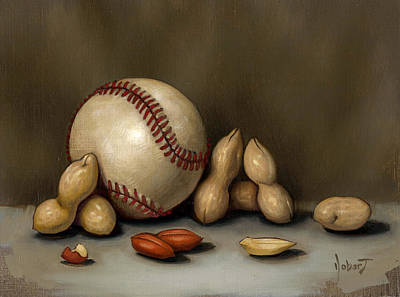 Baseball Painting - Baseball And Penuts by Clinton Hobart